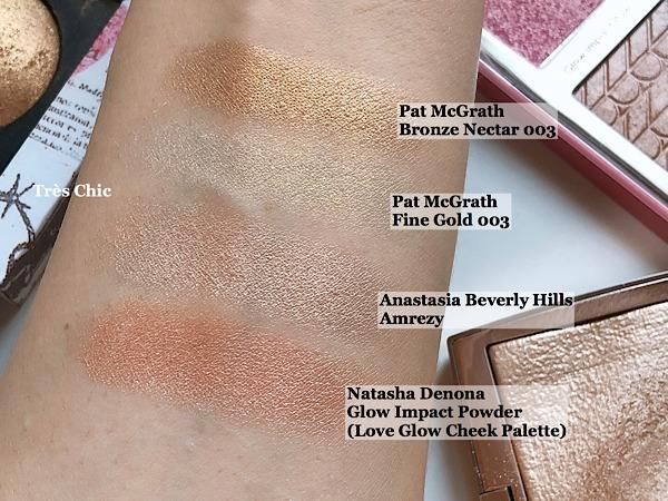 Pat McGrath Labs Sublime Skin Highlighting Trio  パット・マグラスのおすすめハイライトのゴールドとアナスタシアAmrezy のハイライトとナターシャ・デノナのラブ@パレットの色スウォッチ