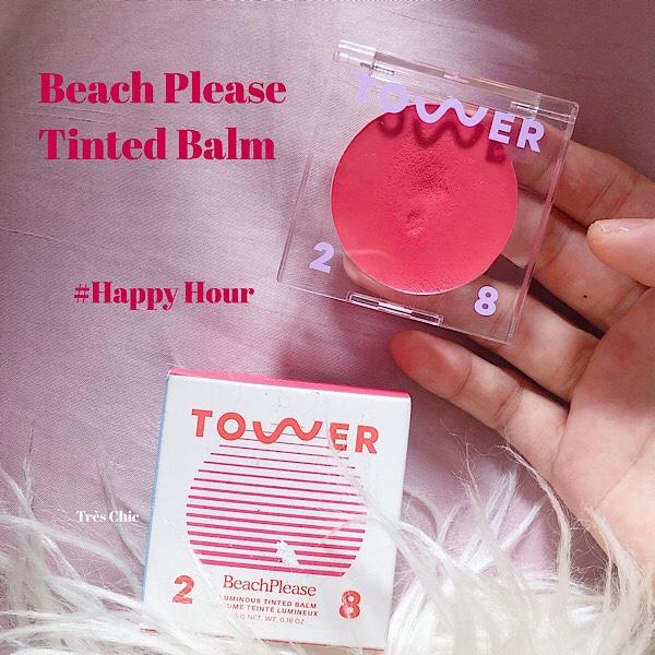 セフォラで話題のクリーンビューティコスメブランドTower 28のクリームチーク Luminous Tinted Balm Beach Please 色#Happy hour を口コミ
